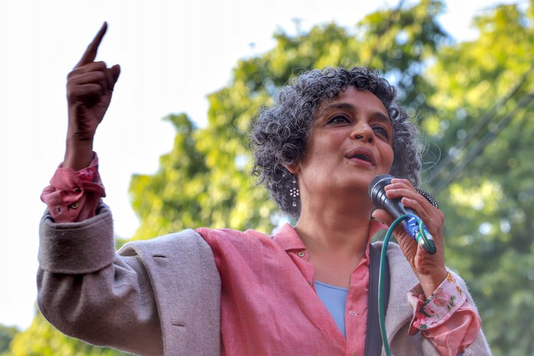Arundhati Roy speaks at a student protest in New Delhi in January.