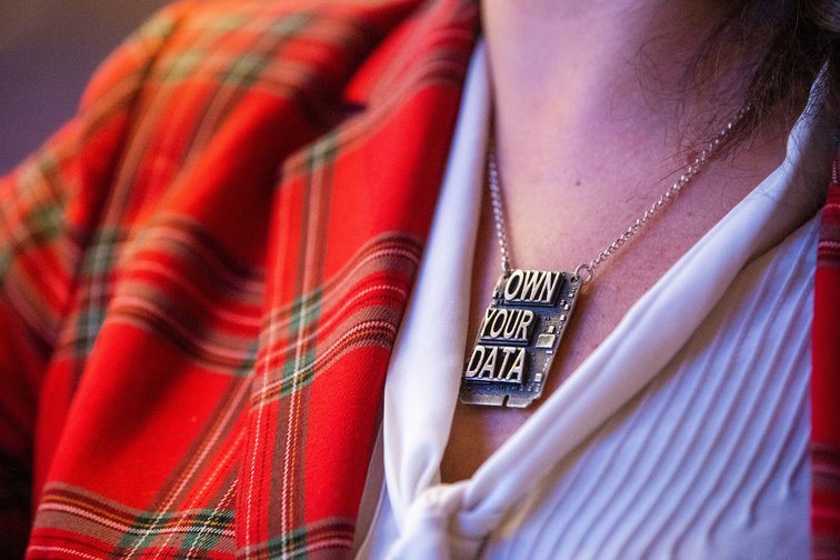 Brittany Kaiser, former Director of Business Development at Cambridge Analytica, sporting a new message to a conference in Munich, Bavaria. January 20, 2020.