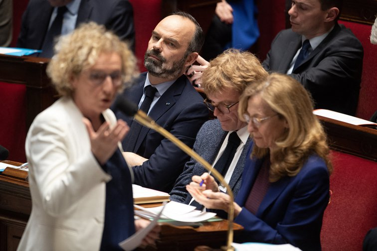 """French Labour Minister Muriel Penicaud and PM Edouard Philippe answer """"Questions to the Government"""" at the French National Assembly, February 4, 2020."""