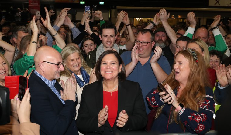 Sinn Fein Leader Mary Lou McDonald is elected in the Irish General Election count, February 9, 2020.