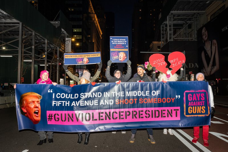 Gays Against Guns protest outside Trump Tower, February, 2020.