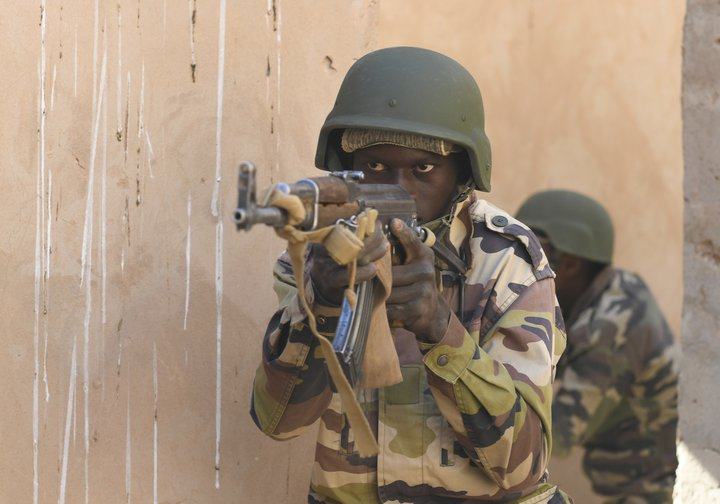 Nigerien soldiers being trained by the US Air Force last month