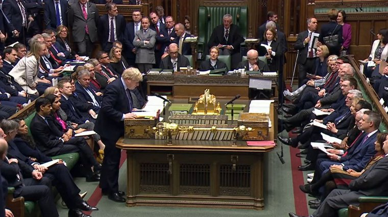 Boris Johnson attends Prime Minister's Questions at the House of Commons in London, February 26, 2020.