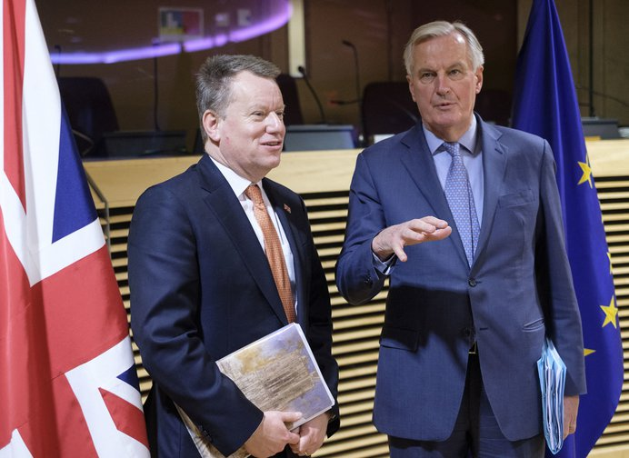 David Frost and Michel Barier at the first day of the UK-EU trade talks.