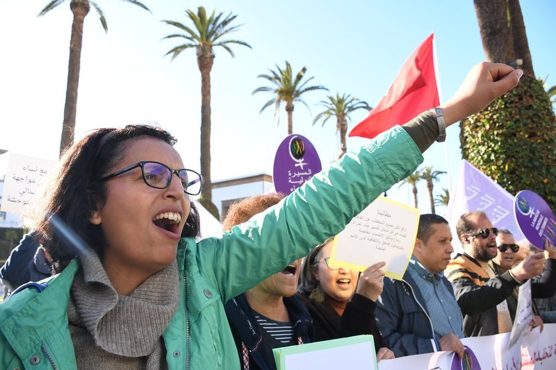People in Rabat, Morocco, participate in a sit-in protest