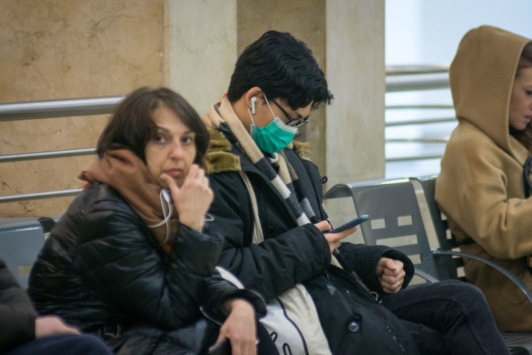 Travellers on March 10, 2020 at Padua train station following new Italian government emergency measures to contain Coronavirus