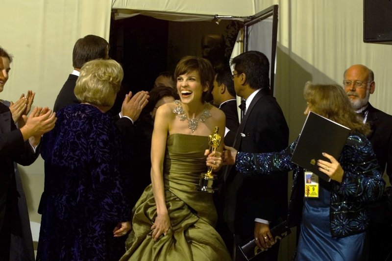 Hilary Swank after winning the best actress Oscar for 'Boys Don't Cry', 2000