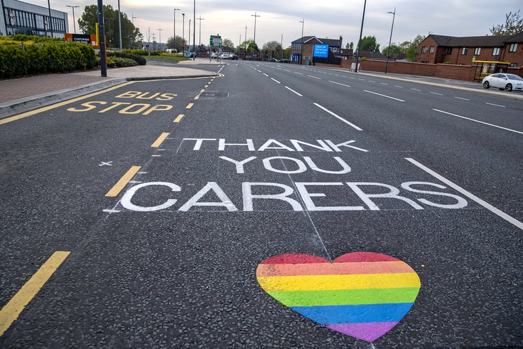 A message of support has been line painted in the Edge Lane area of Liverpool to salute local heroes during Thursday's nationwide Clap for Carers NHS initiative to applaud NHS workers and carers fighting the coronavirus pandemic, 23 April 2020