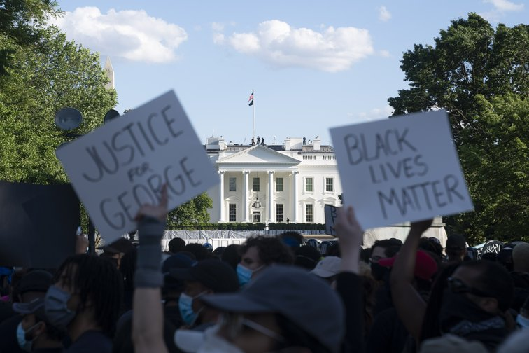 Protests outside the White House over the killing of George Floyd by a police officer.