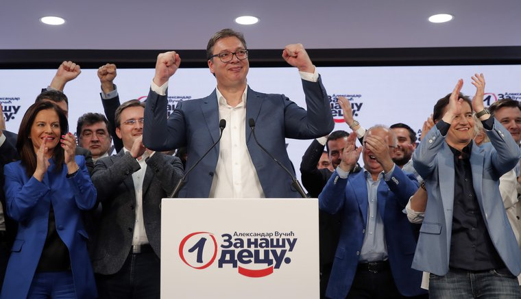 Serbian President Aleksandar Vucic celebrates victory in Belgrade, Serbia, on June 21, 2020.