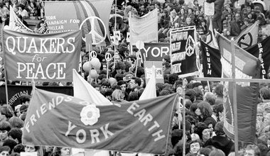Campaign for Nuclear Disarmament march to Trafalgar Square in protest over nuclear weapons, 26 October 1980