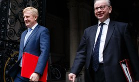 Oliver Dowden and Michael Gove return to Downing Street from the weekly cabinet meeting at the Foreign, Commonwealth and Development Office (FCDO) in London, England, on October 13, 2020.""