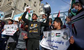 Palestinian protest over UN food agency 2020