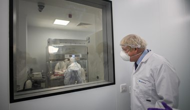 Prime Minister Boris Johnson visiting the French biotechnology laboratory Valneva in Livingston where they will be producing a Covid 19 vaccine on a large scalei, during a visit to Scotland. Picture date: Thursday January 28, 2021.