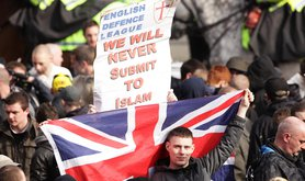 A demonstration by the English Defence League