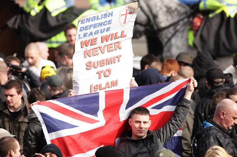 A demonstration by the English Defence League in London, 2010.