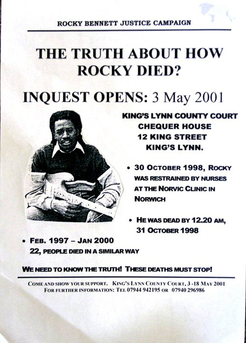 A poster publicising the inquest into death of David 'Rocky' Bennett