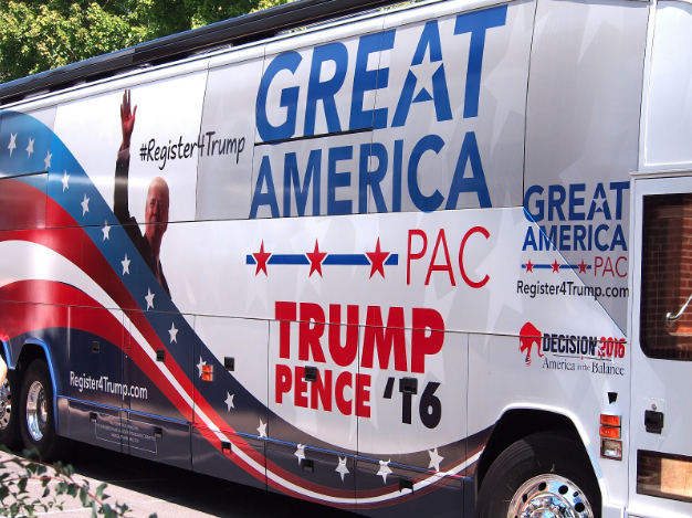 A bus campaign organised by the Great America PAC, which spent $26 million campaigning for Donald Trump's election in 2016. | Mark Mathosian (CC BY-NC-SA 2.0).
