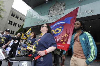 PCS members protesting outside of Manchester Civil Justice Centre.jpg