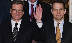 Guido Westerwelle and Radek Sikorski. Demotix/Gonçalo Silva. All rights reserved.