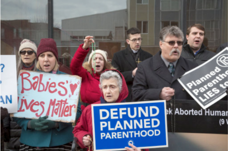 Anti-abortion rally outside Planned Parenthood clinic in metro Detroit, 2017.