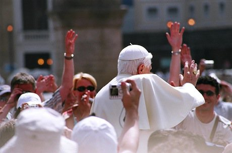Pope Benedict XVI in a crowd in Saint Peter's square. Wikimedia Commons/dgodin. Some rights reserved.