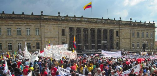 Patriotic March rally in the main Bolivar square in Bogota