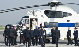 Pope Benedict leaving Rome
