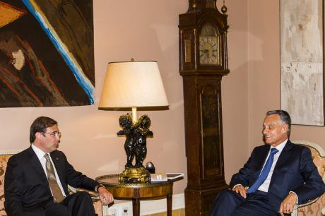 Portuguese President Cavaco Silva (right) receives Prime Minister Passos Coelho after elections to talk about the new government. Gonçalo Silva Demoitx.jpg