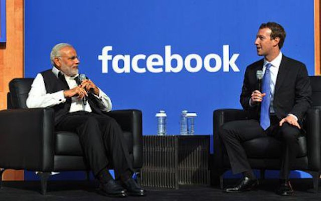 India's Prime Minister and Facebook CEO at Facebook HQ, November 2015.