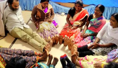 Chattisgarh child rights training, warm-up exercise.