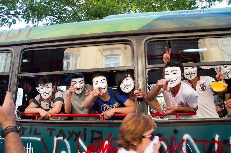 Protestors wearing 'anonymous' masks during Gezi Park protests in Istanbul, Turkey. Akin Aydinli/Demotix. All rights reserved.