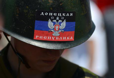 Protester in military uniform at a rally in Donetsk, May 2014