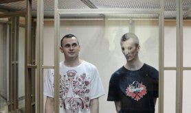 Oleg Sentsov and Aleksandr Kolchenko in court