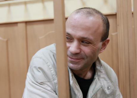Dmitry Pavlyuchenkov sits in the dock during the first Politkovskaya trial in 2012.