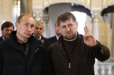 Ramzan Kadyrov shows Putin around the Grozny Mosque, named in honour of his father, Akhmat.