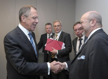 Avigdor Lieberman (right), himself a former Soviet Jew, meets with Russian Foreign Minister Sergei Lavrov.