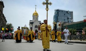 An Orthodox procession in the city of Novosibirsk