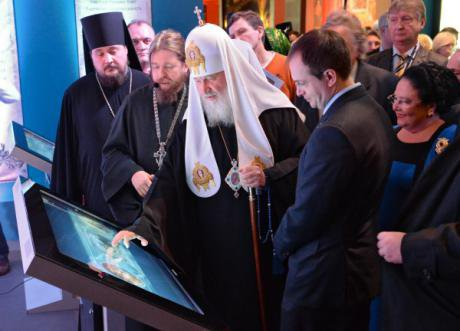 Patriarch Kirill and Culture Minister Medinsky at a new interactive exhibition 'Orthodox Rus of the Romanovs.'