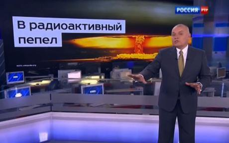 Crimea has seen channels replaced by Rossiya 24. Here the station reminds viewers of Russia's nuclear arsenal.