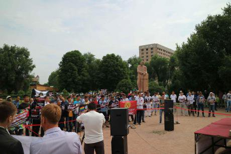 Kalys supporters rally in Kyrgyzstan's capital Bishkek in support of a bill against 'gay propaganda'