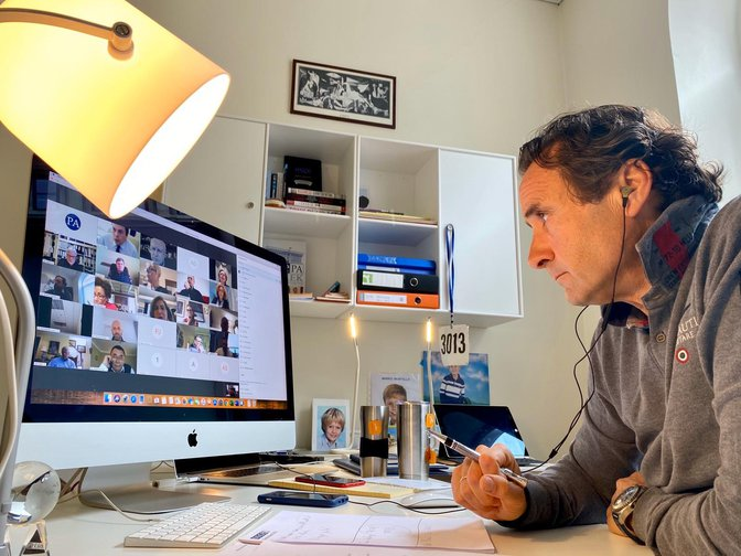 Roberto Montella participating in an online meeting of the OSCE Parliamentary Assembly's Bureau on 8 April 2020.