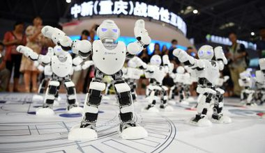 Robots at a trade fair in China.