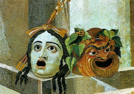 Theatrical masks of Tragedy and Comedy from the Capitoline Museum in Rome.