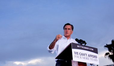 Romney addresses supporters during a campaign rally in Florida. Demotix/Warren Leimbach. All rights reserved.