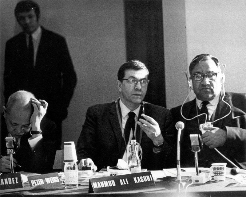 Photo of participants in teh 1967 Russel Tribunal