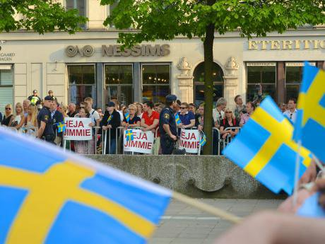 Sweden Democrats supporters gather to hear party leader Jimmie Åkesson, 2014