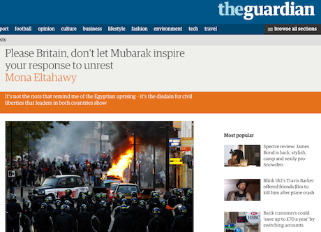 Mona Eltahawy, The Guardian, 12 August 2011. Fair use.