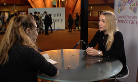 Moana Genevey speaks to Inna Shevchenko at the 2017 World Forum for Democracy.