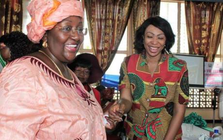 First lady Koroma (left) and Samai, director of AMNet (right).
